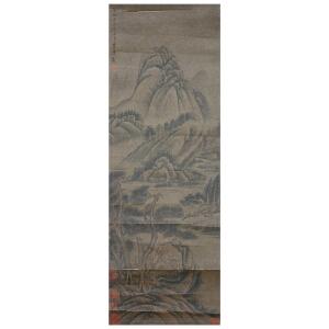 G709  李唐《山水》(多家名人收藏章,原装旧裱满斑)