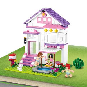 【当当自营】小鲁班新粉色梦想小镇女孩系列儿童益智拼装积木玩具 泳池别墅M38-B0532
