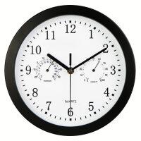 带的钟表 带温湿度计的静音钟表客厅挂钟卧室创意壁挂石英钟家用时尚