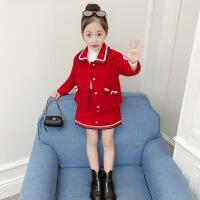 红色女宝宝毛呢套装小孩半身裙秋冬装女童呢子大衣夹薄棉外套