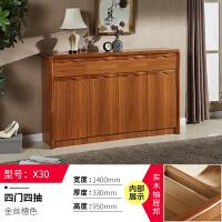 客厅玄关鞋柜实木框简约现代中式门厅柜大容量木质大储物柜 组装