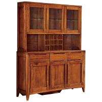 全实木餐边柜中式酒柜现代简约储物柜多功能家用碗碟柜厨房餐具柜 实木餐边柜 6门