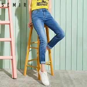 森马牛仔裤 新款 女士韩版学生破洞磨毛修身小脚长裤裤子