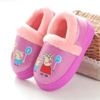 卡通棉拖鞋冬季包跟男童女童宝宝保暖室内棉鞋PU皮面防水防滑