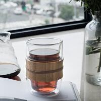 家用卧室水杯双层玻璃杯茶杯耐热创意时尚加厚办公室商务简约透明玻璃杯 如图 均码