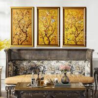 奇居良品 画芯欧美式客厅玄关风水装饰画壁画金色财富树