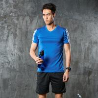 运动套装男夏季速干健身服弹力透气T恤跑步篮球运动短裤