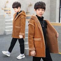 秋冬装韩版儿童加绒中大童呢子加厚麂皮绒上衣潮男童外套