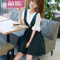【hersheson赫��】2017夏夏新款女装韩国V领背带连衣裙修身显瘦两件套H6665
