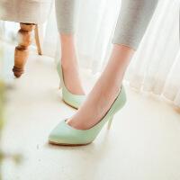 彼艾2016春季新款女鞋细单跟高跟女鞋软面皮尖头浅口时尚简约流行单鞋女鞋子