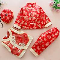 唐装套装婴儿棉衣周岁礼服新年服装新款宝宝唐装男童冬季四件套