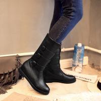 彼艾2016秋冬新款低跟中靴女皮带扣帅气中筒骑士靴中跟马丁靴女靴子