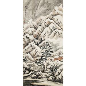 D2583黄君璧《溪山雪斋图》(原装旧裱满斑)
