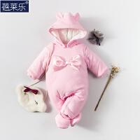 婴儿连体衣棉衣宝宝秋冬装加厚保暖哈衣新生儿3-6月1岁睡衣服冬季