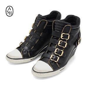 ASH艾熙 GLADIS真皮中坡跟软皮内增高女鞋 金属扣拉链款靴子108413