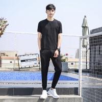 夏季短袖t恤男士套装2019新款潮流休闲运动线感�B恤衣服男装夏装