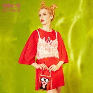 【1件3折】妖精的口袋蕾丝梦新款宽松吊带纯棉两件套T恤女中长款