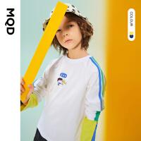 【秒��r:59】MQD童�b男童�L袖T恤2021春季新款中大童撞色卡通�和��\�犹最^上衣