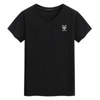 V领短袖男士T恤 新款汗衫男装 小狼头印花T恤