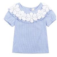 女童上衣夏装童装中大童圆领条纹半袖夏儿童短袖t恤