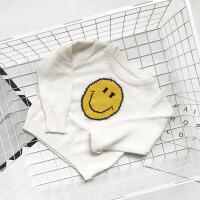 2018秋装新款宝宝毛线衣男童韩版针织打底衫儿童卡通上衣12345岁 白色