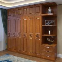实木衣柜橡木卧室组装中式2门3门4门5门6门储物边柜现代简约家具