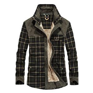 JEEP吉普短袖衬衫男夏季舒适纯棉透气半袖衬衣男装时尚条纹翻领休闲衬衫
