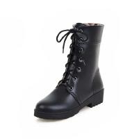 ELEISE美国艾蕾莎新品秋冬151-A2韩版超纤皮平跟女士短靴
