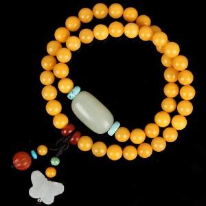 蜜蜡满蜡DIY时尚款绕2圈手链  配和田玉桶珠