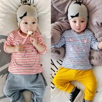 婴儿上衣宝宝春秋夏T恤衫宝宝长袖条纹薄款打底衫03-6-12个月衣服