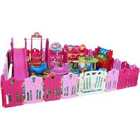 凯蒂猫儿童房滑梯五合一 宝宝多功能滑梯秋千组合 Hello kitty公主房玩具 芭比粉儿童区全套