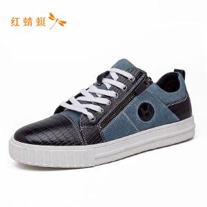 红蜻蜓男鞋低帮系带拼接时尚休闲板鞋