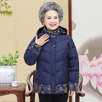 中老年棉衣 女士加绒加厚棉袄2019冬季女士印花连帽棉服宽松大码奶奶装外套