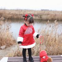 婴幼儿宝宝海浪花唐装红色喜庆夹棉连衣裙宝贝新年拜年服