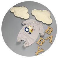 新生儿衣服春秋0-3个月男宝宝连体衣卡通纯棉婴儿百天秋装6-9月潮