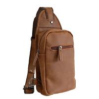 男士胸包韩版运动背包休闲疯马皮单肩包腰包男包包学生斜挎包 咖啡色 全场满2件送手包