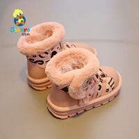 【2.5折价:120.75】芭芭鸭儿童雪地靴短靴子男童雪地棉鞋2019冬季新款女童冬鞋加绒厚
