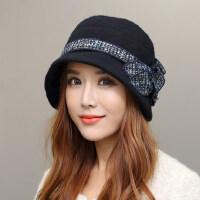 韩版潮保暖小礼帽英伦时尚韩国盆帽礼帽帽子女羊毛呢帽子