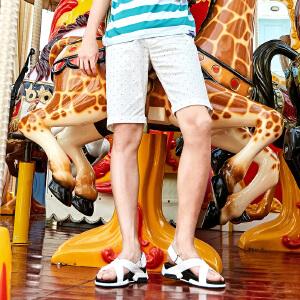 【清仓狂欢满299立减200,仅限7.21-7.23】森马休闲短裤男士2017夏装新款波点五分短裤青年夏天学生韩版裤子