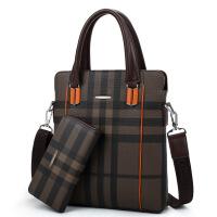 男包商务手提电脑包男单肩斜挎包立款公文包印花精品 咖啡色+手包