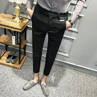 新品型男发型师绅士休闲九分裤百搭小脚裤男士锥形修身裤免烫西裤