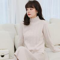 修身针织羊毛衫秋冬季新款女半高领不规则格格厚短款套头羊绒衫