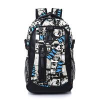 双肩包男潮酷帆布背包女时尚书包百搭休闲旅行背包迷彩涂鸦YB 升级版蓝黑纹A