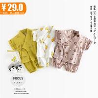 婴幼儿春夏套装0-1-3岁长袖家居服秋季男女宝宝韩版纯棉睡衣和服
