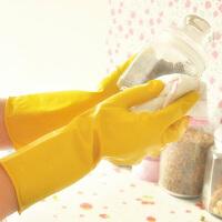 普润 新品护肤乳胶家务手套防滑清洁手套洗衣手套 黄色短款