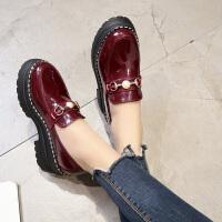 英伦风女鞋春季时尚新款复古厚底学生单鞋漆皮百搭松糕软妹小皮鞋