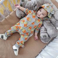 婴儿连体衣夏季短袖开衫爬服新生儿宝宝满月周岁外出服夏装包屁衣
