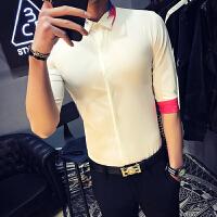 夏季新款韩版修身短袖衬衫男士时尚潮流个性七分袖衬衣发型师寸衫
