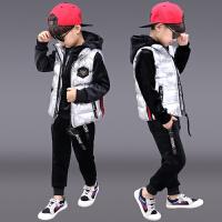 儿童洋气男孩帅气运动衣服三件套潮童装男童冬装套装