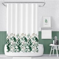 浴帘套装免打孔北欧植物浴室卫生间浴帘隔断帘厕所帘子防水加厚防霉淋浴室挂帘